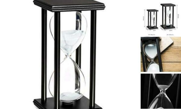 60 Minutes Hourglass Timer Wooden Black Stand Hourglass Clock 60MIN White Sand