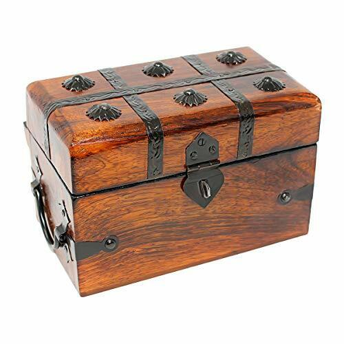 Deluxe Pirate Treasure Chest Keepsake Wooden Box Large Large
