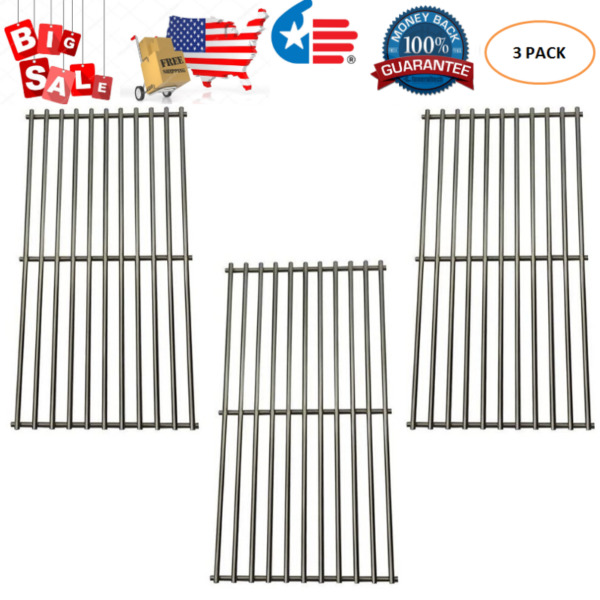 Grill Stainless Steel Cooking Grates Grid 3pcs for Master Chef Charbroil Kenmore
