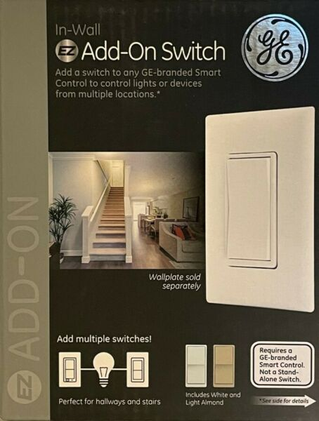 GE In Wall Rocker Style Add On Smart Switch White Almond Paddles NEW $15.99