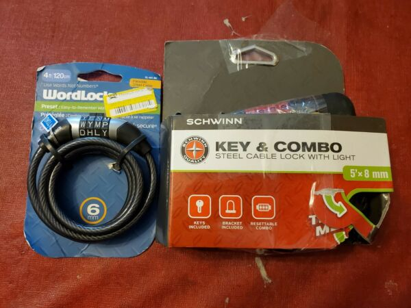 Lot of 2 Bicycle Locks Schwinn 5 #x27; No Key amp; Wordlock 4 #x27; Cables $22.89