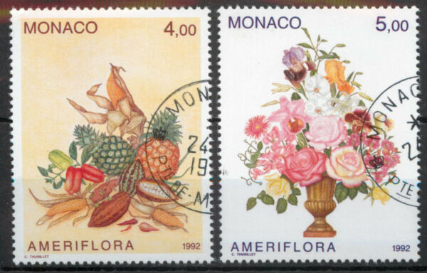 Monaco 1992 Ameriflora flowers and produce set SG 2086 2087 used *COMBINED POST