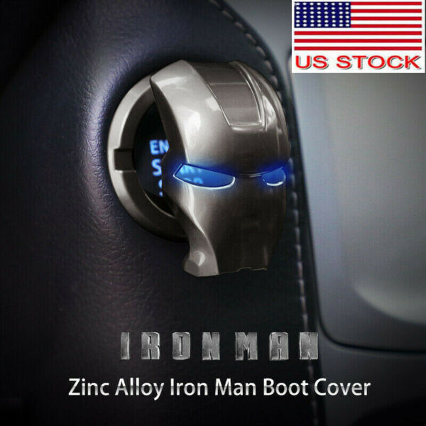 Car Engine Start Stop Button Cover Push to Starts Button Ignition Cover Iron Man