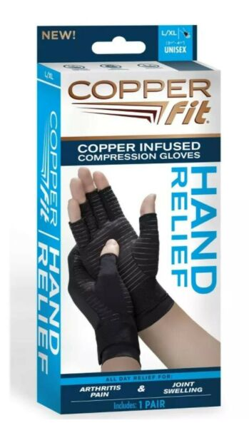 COPPER FIT COMPRESSION GLOVES COPPER INFUSED HAND RELIEF 1 PAIR L XL UNISEX NEW