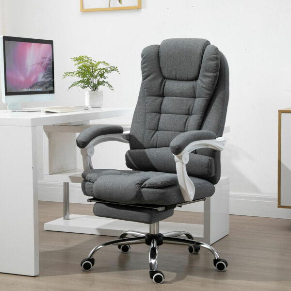 with Armrests Vinsetto Office Chair with Retractable Footrest Height Adjustable $46.18
