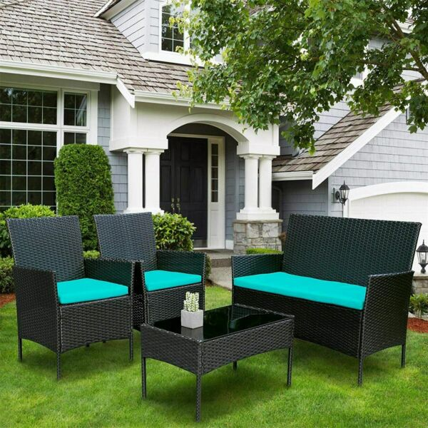 4PCS Outdoor Patio Rattan Black Wicker Table Sofa Furniture Set $199.90