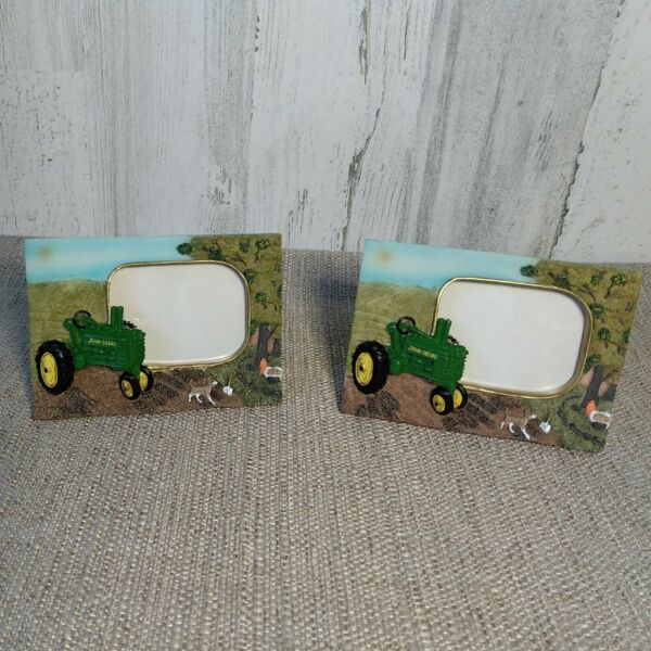 2 New John Deere Small Mini Picture Frame 2x3 Dog Tractor Country Farm Deco $20.00