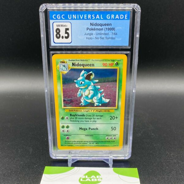 Nidoqueen Jungle Holo Rare No Symbol Error 7 64 CGC 8.5 NM Mint PSA BGS $112.99