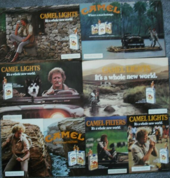 7 Vintage Camel Cigarettes Ads Sexy Rugged Blond Haired Man Dog Jeep New World $7.99