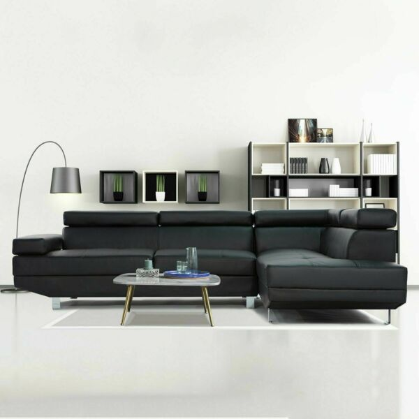 2 Pc Contemporary Bonded Leather Sectional Sofa Black $249.99