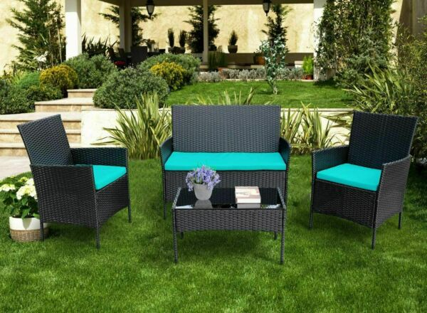 4PCS Outdoor Patio Rattan Wicker Table Sofa Furniture Set w Cushions $199.99