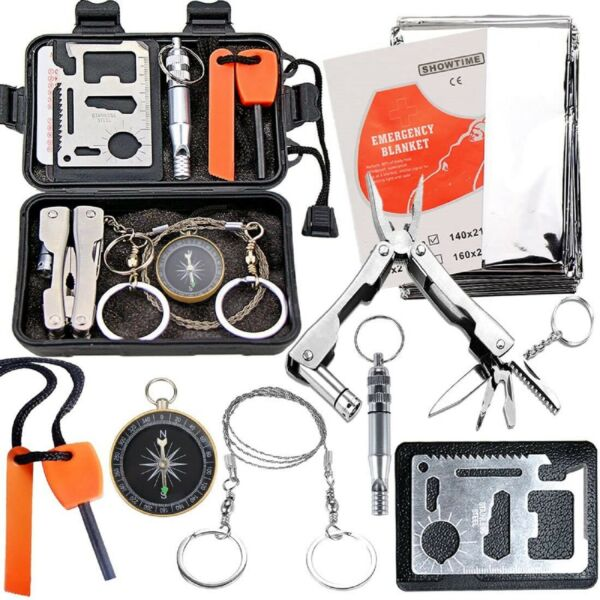 Emergency Survival Kit Camping Multi Tool Outdoor Military Camping Tactical Set