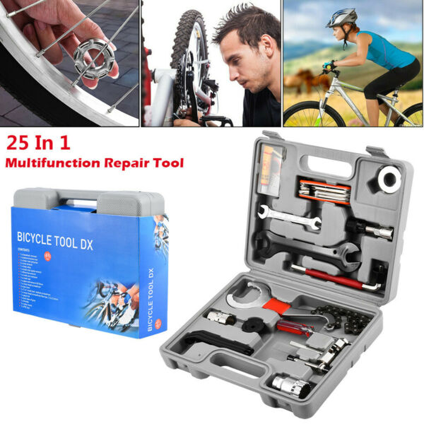 25pc Home Cycling Complete Portable Bike Bicycle Repair Tools Tool Kit Set US $34.67