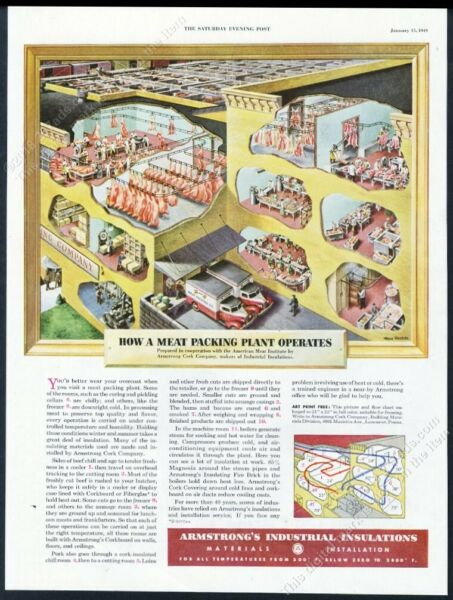 1949 meat packing plant color diagram Armstrong insulation vintage print ad $9.99