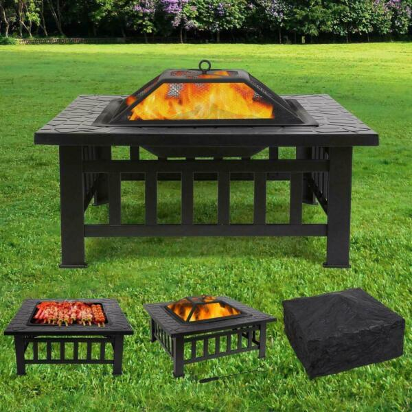 Outdoor Wood Burning Fire Pit Garden Patio BBQ Grill Square Stove W Cover $95.99