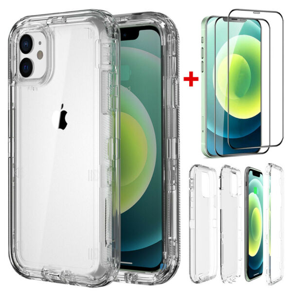 For iPhone 12 Pro Max 11 Shockproof Defender Clear Case Cover Screen Protector