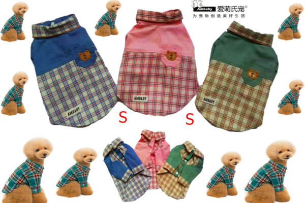 Ambaby Small Dog Polo Shirt Puppy Polo T Shirt Plaid Shirt Pet Clothes Dog Skirt $6.99