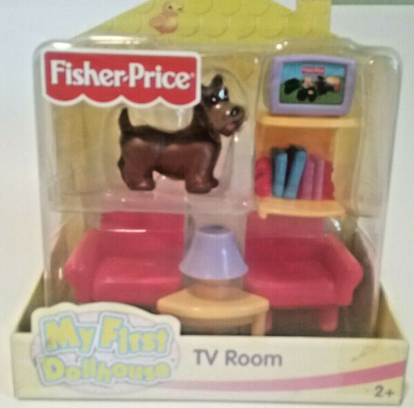 Fisher Price My First Dollhouse TV ROOM Dog chairs lamp Tv with stand $27.00