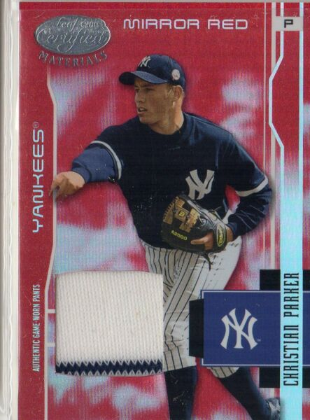 2003 YANKEES Leaf Certified Material Mirror Red Material #125 Christian Parker $6.40