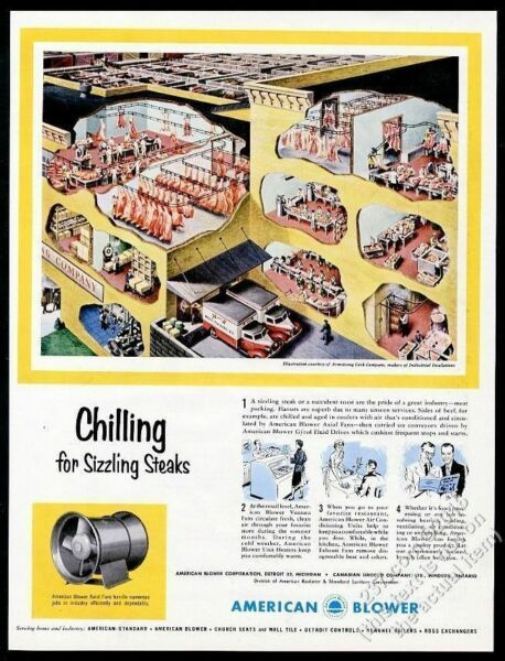 1953 meat packing business building diagram American Blower vintage print ad $29.97