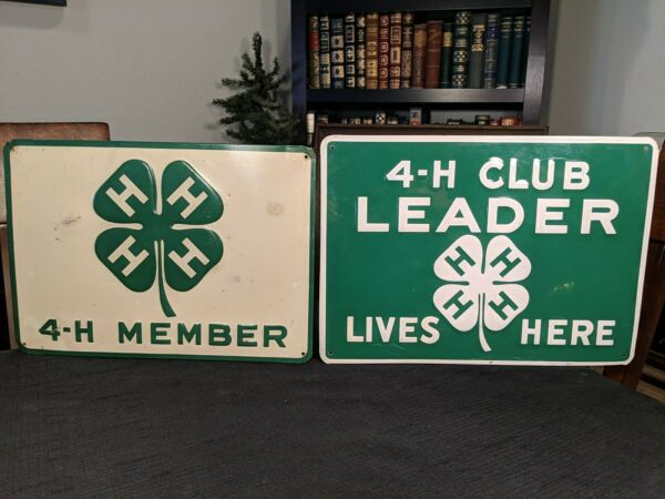 2 VINTAGE 4 H CLUB LEADER MEMBER TIN EMBOSSED SIGNS 14quot; 13.5quot; AG FARM COUNTRY