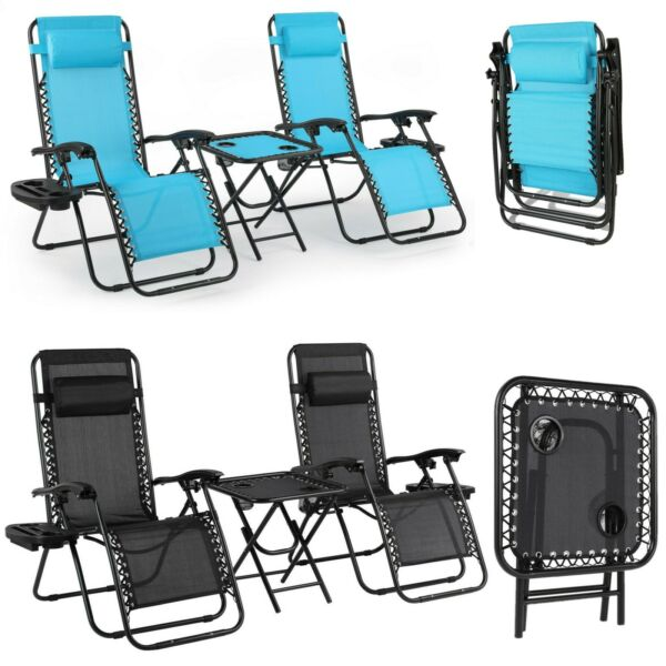 3pcs Folding Zero Gravity Reclining Lounge Chair Outdoor Beach Patio with Tray $119.99