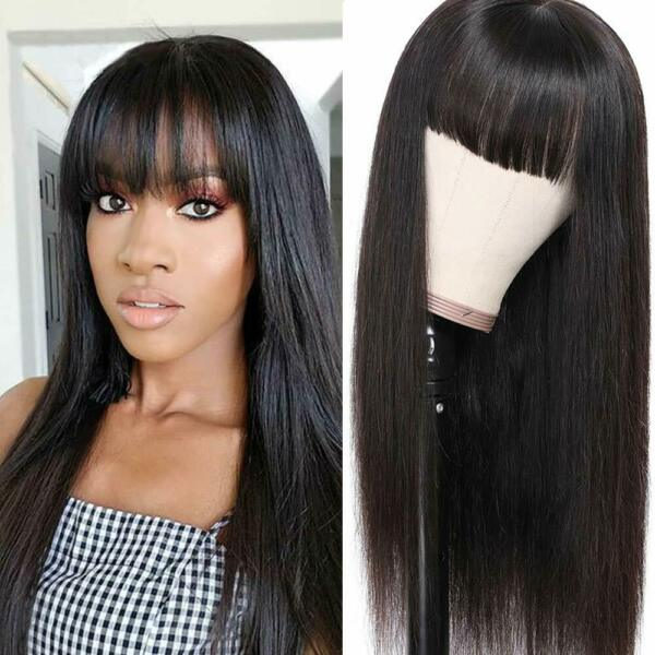 Long Straight Black Wig Heat Resistant Synthetic Wig With Bangs Natural for Lady $16.99