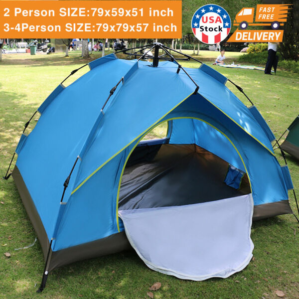 Waterproof Automatic 3 4 People Outdoor Instant PopUp Tent Camping Hiking Canopy