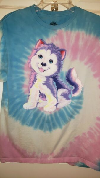 Lisa Frank Small S T Shirt Rainbow Husky 36quot; Bust Puppy Dog Made Mexico Junior#x27;s $24.00
