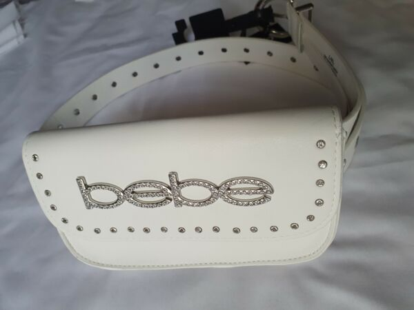 BEBE WOMEN#x27;S WHITE WAIST BAG BELT WITH BB LOGO amp; RHINESTONES.L XL.