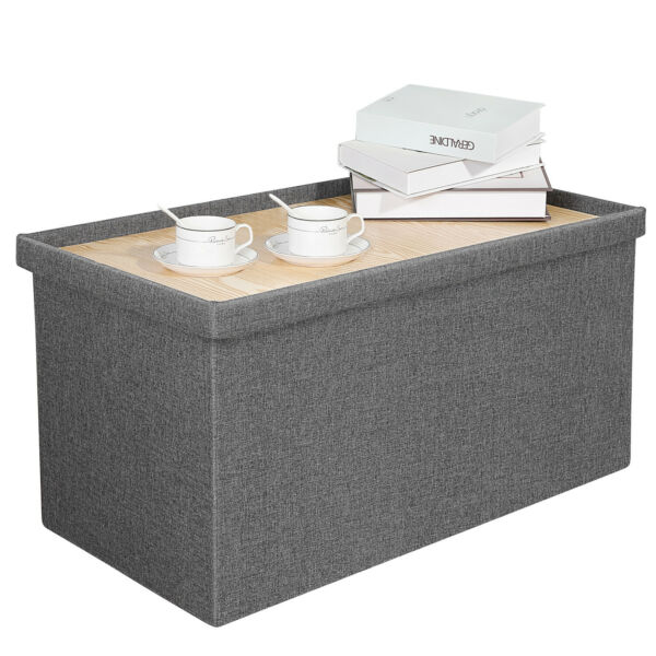 Storage Ottoman with Tray Linen Ottoman Coffee Table Folding Long Shoes Bench