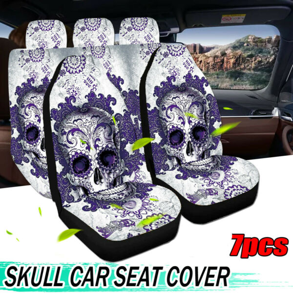 7X Skull Full Set Car Seat Covers Universal Washable Pet Protectors Front C $51.68