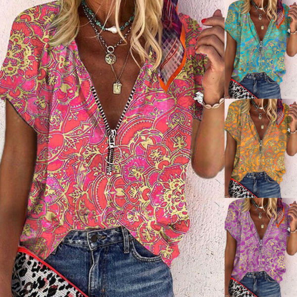 Women Summer Zipper V Neck Short Sleeve T Shirt Casual Print Blouse Loose Tunic $15.68