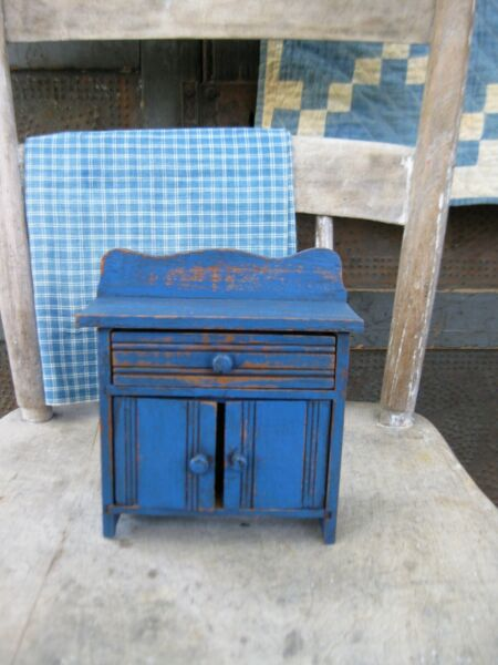 Very Small Antique Wood Child#x27;s Doll Chest of Drawers Cupboard Blue Paint
