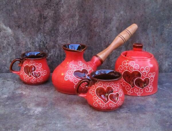 Arabic Wood Handle Cups Heart Style Vintage Coffee Stovetop Red Sugar Bowl Gift