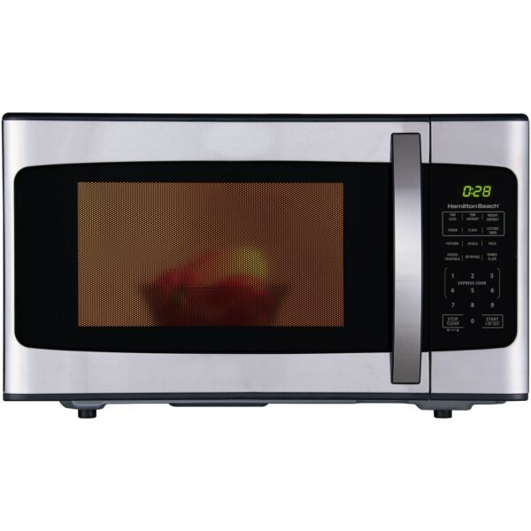 Hamilton Beach 1.1 Cu. Ft. 1000W Black Stainless Steel Microwave White amp; Black