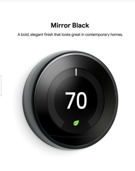 Nest Learning Thermostat Smart Wi Fi Thermostat Mirror Black T3018US $199.99