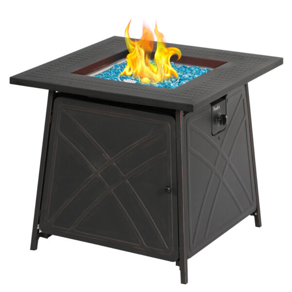 Bali Outdoor Propane Fire Pit Patio Gas Table 28quot; Square Fireplace 50000BTU US
