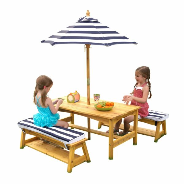 KidKraft Outdoor Table amp; Bench Set with Cushions amp; Umbrella Navy amp; White Strip $109.99