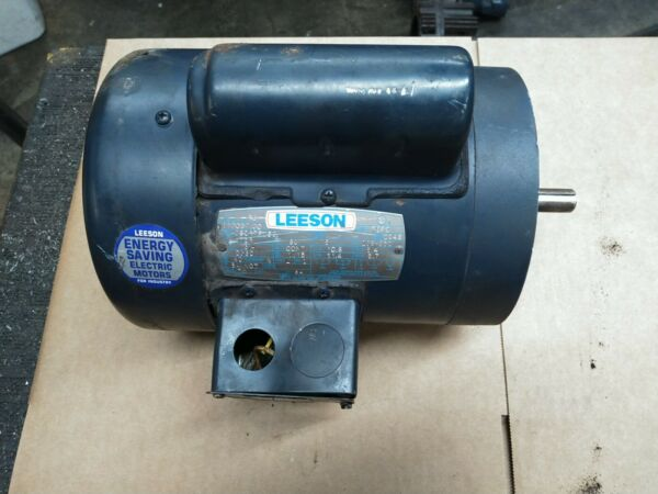 Leeson 3 4 HP 115 208 230VAC Single Phase Electric Motor 56C TEFC 1725RPM Tested $125.00