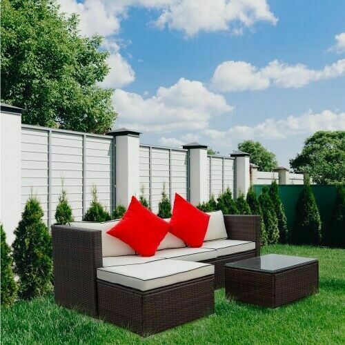 3 PCS Outdoor Furniture Sectional Sofa Set Rattan Wicker Cushioned Couch W Table $415.55