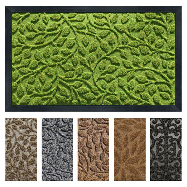gb Home Collection Doormat 18 x 30 Green Indoor Outdoor Door Mat Low Profile