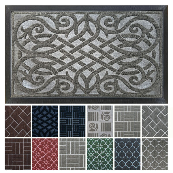 gb Home Collection Doormat 24 x 36 GRAY Indoor Outdoor Door Mat