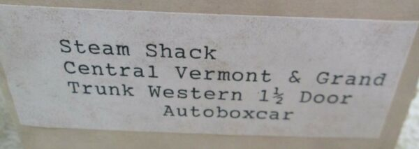 Steam Shack Central Vermont amp; Grand Trunk Western 1 1 2 Door Autoboxcar Model $38.00