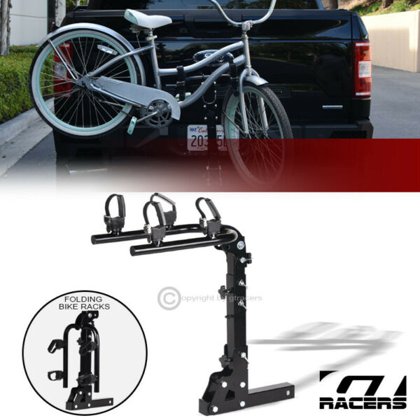 2 Bike Trailer Tow Hitch Mount Bicyle Rack Adjustable Foldable Carrier Kit GT09 $126.00