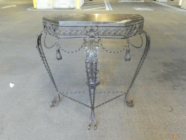 1920#x27;S FRENCH WROUGHT IRON MARBLE TOP CONSOLE WITH TASSELS AND FLOWERS