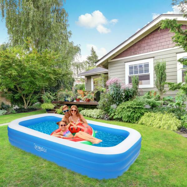 10 Ft x 72quot; Kids Children Inflatable Swimming Pool Large Family Summer Outdoor