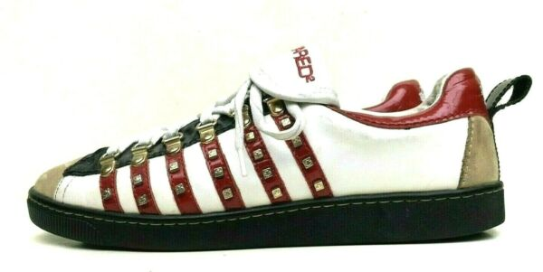 DSQUARED2 STUDDED LEATHER SNEAKERS SHOES SIZE 43 US 11 $64.99