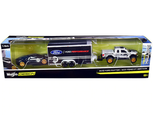 2010 Ford F 150 SVT Raptor with Car Trailer and 2017 Ford GT Maisto Design 1:64 $15.99