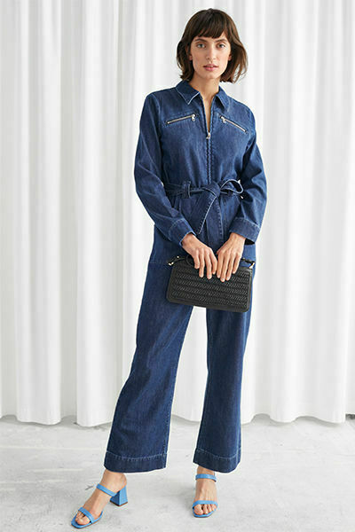 amp; Other Stories Denim Jumpsuit 2 Boiler Suit 2 Wide Leg Zipper Belted $74.99